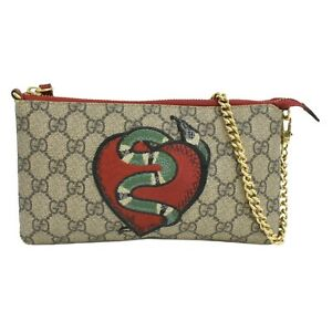 GUCCI King Snake Chain Pouch 456866 GG Supreme Mini Hand Bag Beige Red Gold