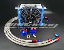 15 Rows10 AN Oil Cooler Kit Blue + STAINLESS STEEL OIL HOSE + RACING FAN