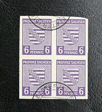 TIMBRES D'ALLEMAGNE : SACHSEN / SAXE 1945 N° 4 YVERT EN BLOC DE 4 Oblitéré - ND