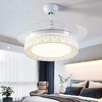 """Retractable 42"""" LED Ceiling Fan Light Blades 3Color Change Chandelier Lamp"""
