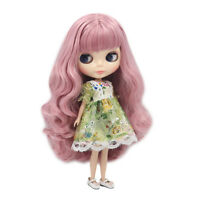 """12"""" Takara Blythe From factory Nude Doll Purple Mix Pink Curly Hair With Bang"""
