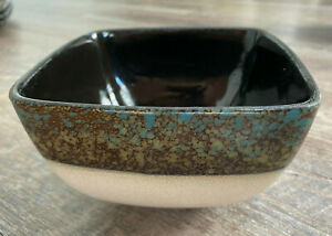 """1 MasterCuisine Square Coupe Cereal Bowl 5.5"""" W X 3.5"""" H M6T2 Brown Blue Teal"""