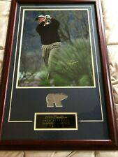 2000 JACK NICKLAUS AUTOGRAPH & PANTS SWATCH FRAMED PHOTO 59/75. UD COA