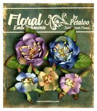 Canterbury Naturals BLUE AMETHYST - 5 Mixed Paper Roses 2.5 - 4cm Petaloo LB/P