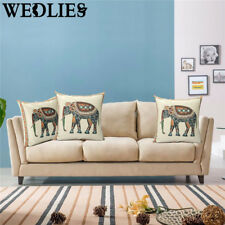 ☆Indian Knitted Elephant Cotton Linen Throw Pillow Case Cushion Cover Home Decor