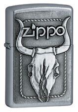 Zippo 20286, Bull Skull, Emblem, Street Chrome Finish Lighter, Full Size