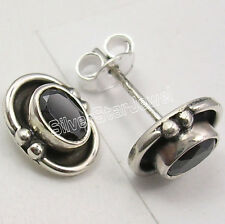 925 Sterling Silver Hot Selling BLACK ONYX OXIDIZED Stud Post Earrings 1.0 CM