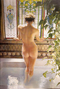 """Dream-art oil painting young nice woman in her Morning bath with Green dill 36"""""""