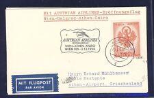 43442) AUA FF Wien - Athen Greece 2.12.59, Karte Aufl. Sulz-Röthis