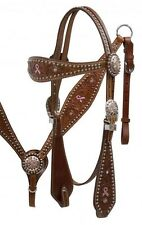 Showman Leather Horse Bridle Reins Breast Collar Pink Ribbon Breast Cancer
