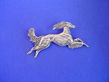 Feathered saluki Pewter pin leaping #15A Dog Jewelry by Cindy A. Conter  cac