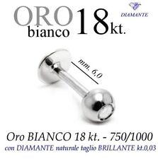 Piercing body TRAGO CORPO LABRET LABBRO ORO BIANCO 18kt. BRILLANTE WHITE DIAMOND