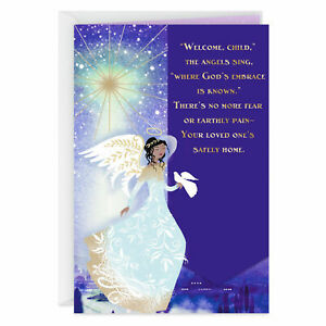 Sympathy For Your Loss Purple Angel Coming Home Religious Hallmark Mahogany Card