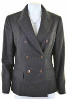 BROOKS BROTHERS Womens Double Breasted Blazer Jacket Size 12 Medium Brown Wool