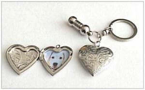 Pet Cremation Jewellery Ashes Urn Keyring w Filigree Silver Heart Locket