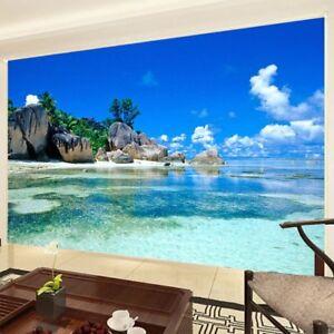 Custom Mural Wallpaper 3D Ocean Sea Beach Photo Background Non-woven Wallpaper