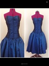 Vintage Metallic Blue Strapless Katie Mfg Rushed Party/Prom Dress Union Label