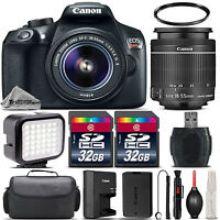 Canon EOS Rebel T6 WiFi Camera 1159C003 + 18-55mm IS Lens + LED + Case -64GB Kit
