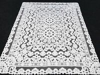 """White Rectangle 72x90"""" Embroidery Polyester Tablecloth 8 Napkins Wedding Banquet"""