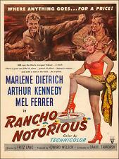 1952 vintage Movie AD RANCHO NOTORIOUS Marlene Dietrich RKO Fritz Lang 060217