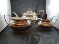Antique Epns Silver Plated Classic Half Fluted Teapot Sugar Bowl & Milk Jug