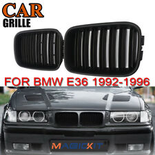 Front Bumper Kidney Grille Matte Black Dual Slat For BMW M3 E36 3 Series 92-96