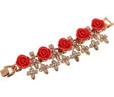 MAWI LONDON Roses and Swarovski Crystals Gold Plated Bracelet BNIB