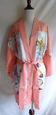 Asian Japanese Geisha Flower Village Satin Kimono Robe w/ Belt Made in Japan