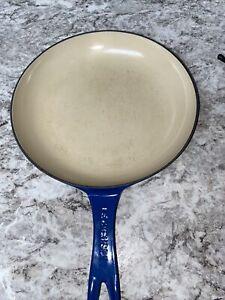 Le Creuset France Cast Iron 10 Inch Blue Enameled Round Skillet Pan
