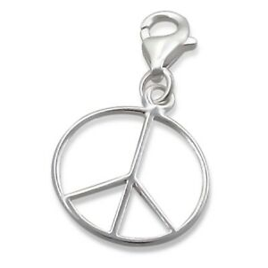 Silvadore PEACE Sign Round 925 Sterling Silver Clip On Charm Bracelet Box 512