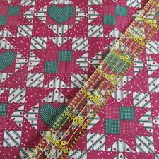Burgundy Green Cheater cotton fabric Vtg 80s HEARTS ticking stripe BTHY