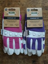 2 x Town & Country Ladies  Gardening Gloves Comfort Fit TGL104M pink/purple M