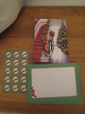 15 Christmas Cards, Envelopes & Seals – 5� x 7� Of Decorated Foyer & Staircase
