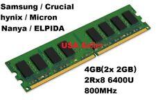 Samsung/Crucial/Nanya/hynix/Micron/ELPIDA/ 4GB(2x 2GB)PC2-6400U DDR2 Desktop RAM