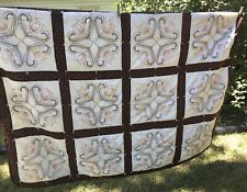 Homemade Hand Embroidered Floral Pattern Quilt