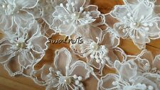 1 yard Embroidered Organza Voile Lace Venise Pearl Beaded FLOWER Trim Applique