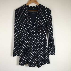 The Fifth label womens playsuit romper size S navy blue polka dot long sleeve