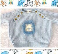 3-6 Mo Sweater Boy Baby Blue Precious Lion EUC BT Kids