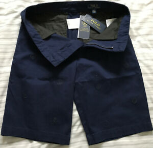 Ralph Lauren Polo RL Pattern Boys Stretch Shorts 16 years Navy Blue Swim Bnwt