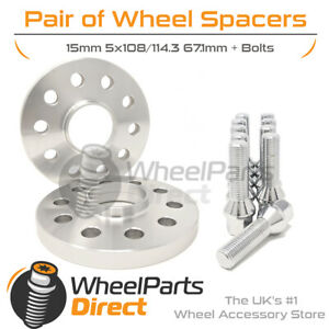 Wheel Spacers (2) & Bolts 15mm for Volvo XC90 [Mk1] 02-14 On Aftermarket Wheels