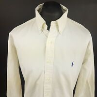 Ralph Lauren Mens Vintage Denim Shirt 2XL Long Sleeve Beige Classic Fit Cotton