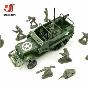 1:72 4D M3 Half-Track Armored Vehicle Assembly Model Toy +10Pcs Soldiers Model