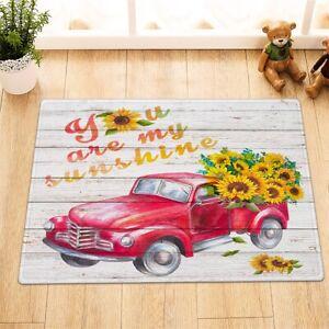 Red Farm Truck Autumn Sunflowers Floor Rug Non-skid Door Bath Mat Home Decor