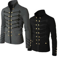 Uomo Autunno Steampunk Gothic Rock Giacca Cardigan Outwear Cappotto