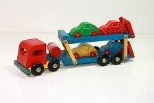 """Vintage Wooden """"CAR TRANSPORTER"""" with VW / Volkswagen Beetle Cars"""