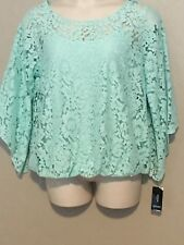 $76 (NWT) Alfani Women's Mint Angel Sleeve Lace Top & Cami Plus Size 1X
