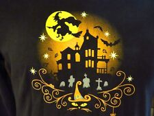 HALLOWEEN Witch Haunted House Cat Bats Cemetary Womens T-Shirt Size S