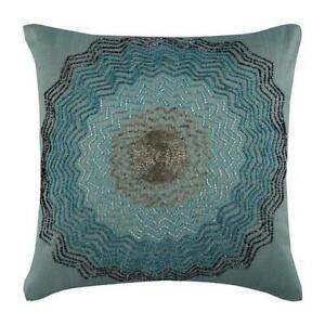 "20""x20"" Blue Zipper Pillowcase Decorative Silk, Art Deco Beaded - Blue Blast"
