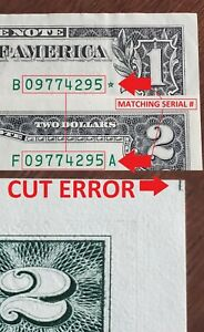 MATCHING Serial Numbers - STAR $1 + CU $2 Dollar Bills / Federal Reserve Notes