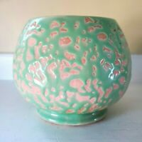 McCoy USA Vintage Pottery Small Round Planter Green Textured Mottled 4 inch